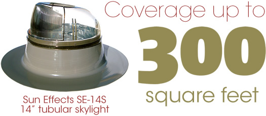 Sun Effects model SE-14S 14 inch tubular skylight, tube light, solar tube, light tube in gray finish